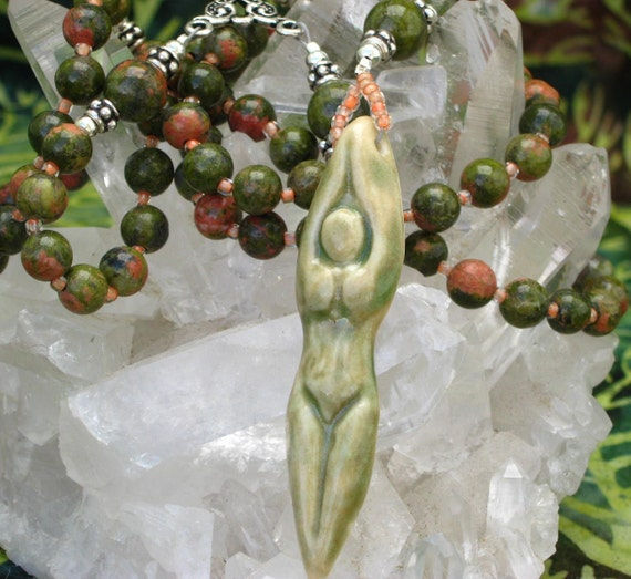 Goddess Rosary Pagan Spirit Necklace with Unakite