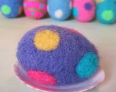 Pretty Purple Needle Felted Easter Egg with Multi-color Polka Dots