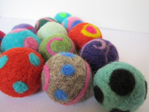 RESERVED SALE for Janie - 10 Needle Felted Cat Toy Balls