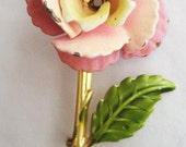 Vintage Pink and Yellow Matte Enamel Flower Pin with Green Leaf