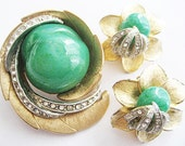 Vintage Green Peking Glass and Rhinestone Flower Earrings and Pin Set