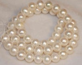 30 Percent OFF -9mm Natural Ivory Rounded Potato Freshwater Pearl ----Half Strand AA plus genuine pearl---Reduced from 23.50