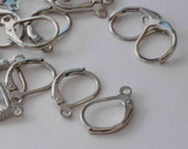 18k White Gold plated over Copper Lever Back Earring Wire with French Ring - Nickel Free - 80 Pc -F9001