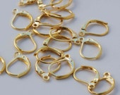 18k yellow Gold plated over Copper Lever Back Earring Wire with French Ring - Nickel Free - 60 Pc -F9002