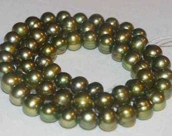"""Olive Green Genuine Freshwater Pearl-----7-8mm round potato pearl 1 full strand 15.5""""--wholesale pearl  #RS2051"""