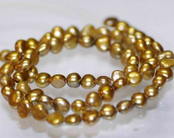 """Corn Pearl Baroque Pearl Nugget Pearl Freshwater Pearl olive green color 5mm AAA----15"""" full strand 65 pcs  Wholesale #CB6012"""