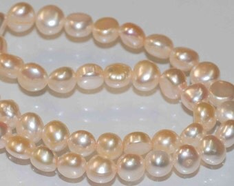 Corn Pearl Baroque Pearl Freshwater Pearl natural shell champagne 7-8mm----15'' full strand 52 pieces-----Wholesale #CB6060