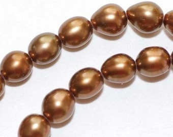 Rice Pearl Freshwater Pearl bronze 5-6mm----16 inches full strand 70 pieces