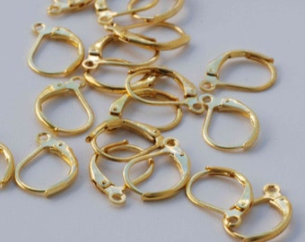 18k yellow Gold plated over Copper Lever Back Earring Wire with French Ring - Nickel Free - 80 Pc -F9002