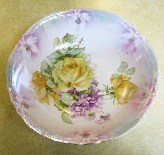 Antique Germany  Serving Bowl Roses