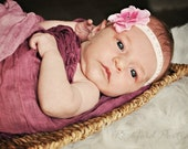 CLEARANCE - Tru Fit Newborn Pink Bitty Flower Blossoms Headband with Rhinestone on Pink Ruffled Headband