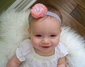 CLEARANCE - Sweet Dainty Pink Bloom with Rhinestone Button on a Soft Gray Satin Headband - Babies Toddler Girls - Design Stash Collection