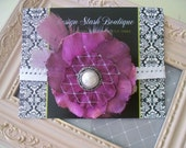CLEARANCE - Royal Purple Shabby Fabric Flower with Pearl Feathers and Netting on White Scalloped Lace Headband