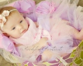 CLEARANCE - Darling Pink Shabby Flower Duo with Pearl Centers on Thin White Satin Headband