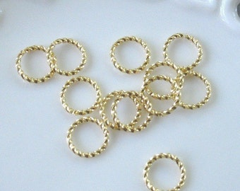 BULK LOT - One Hundred (100) Gold Plated 10mm Fancy Twisted Round 16g Jump Rings - Save 10 percent