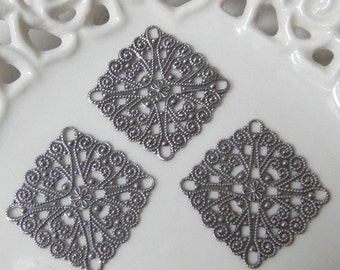 Ten (10) Antiqued Silver 28mm Large Fancy Square Filigree Charms Components Findings