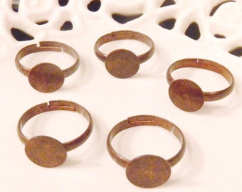Ten (10) Nickel Free Adult Size Antiqued Copper Adjustable Rings with 10mm Flat Glue On Pad