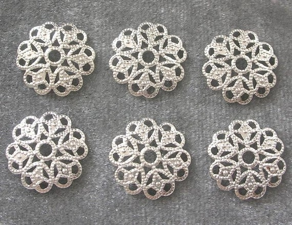 BULK LOT - Fifty (50) Silver Plated 15mm Filigree Round Drops Charms Findings - Save 10 percent