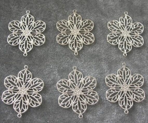 BULK LOT - Two Dozen (24) Silver Plated 26x20mm Filigree Fancy Flower Links Drops Charms Findings