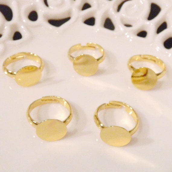 Ten (10) Nickel Free Child Size Gold Plated Adjustable Rings with 10mm Flat Glue On Pad