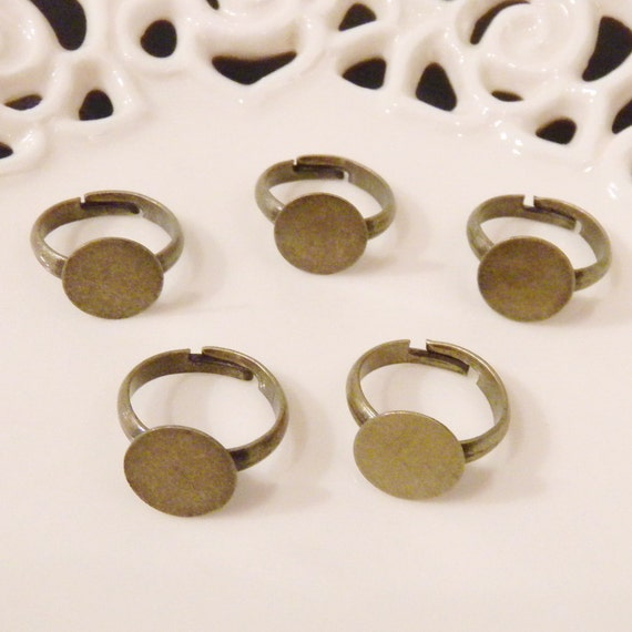 BULK LOT - Fifty (50) Nickel Free Child Size Antiqued Brass Adjustable Rings with 10mm Flat Glue On Pad - Save 10 percent