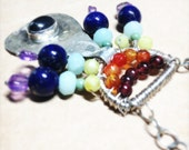 25% OFF SALE - Raindrops and Rainbows - one of a kind wire wrapped necklace in all the colors of the rainbow