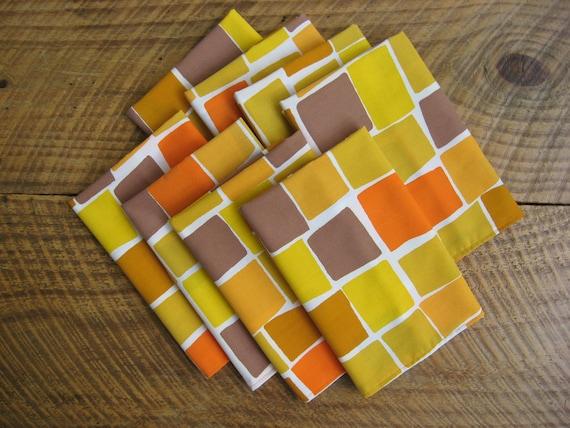 Cloth Napkins Mod Color Blocks Orange Yellow Set of 8 Vintage Fabric