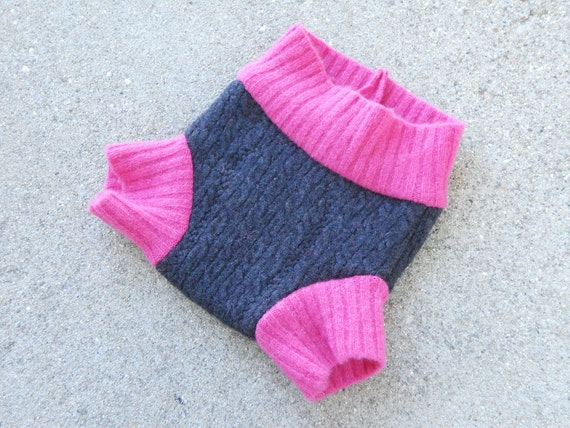Small recycled wool soaker shorties, cloth diaper cover, gray and hot pink