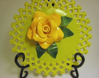 Vintage Reticulated Lattice Kiwi Antique Shabby Chic Cottage  1920s to1950s Ceramic Kiwi Lemon Rose Wall sculpture