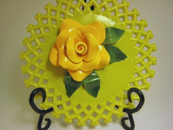 Vintage Reticulated Lattice Kiwi Antique Shabby Chic Cottage  1920s to1950s Ceramic Kiwi Lemon Rose Wall sculpture