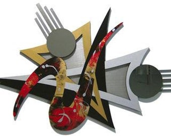 Asianna Abstract Wood & Metal Wall sculpture with Mirror accents, contemporary Modern 44x31