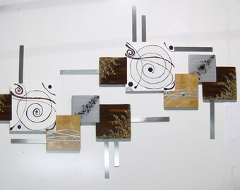 Contemporary Modern Abstract Swirl Square Wooden Wall Sculpture with Metal accents