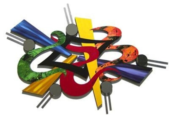 """Funky Contemporary Modern Abstract Art Wall Sculpture With Mirrors & Metal 43""""x 30"""", unique, colorful, Vibrant Outburst by Alisa R Tarpley"""