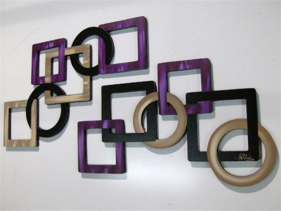 Custom for Michelle G -2pc LARGE Purple Passion Geometric Squares & Circles Versatile Wood Wall Sculpture hangings