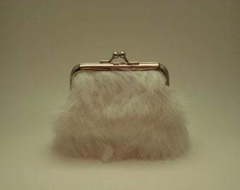 Rabbit Fur and Glitter Vinyl Coin Purse