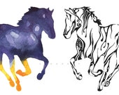 Horses - 8 x 10 Giclee Print - Art for Literacy