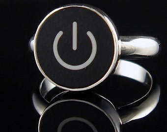 SALE Computer Key Jewelry - Sterling Black or White Mac Power Standby Symbol Ring