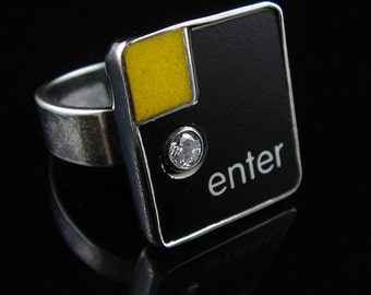 SALE - Computer Key Jewelry - One of a Kinds - Enter Key with CZ - Size 7.5