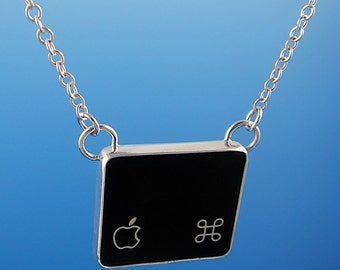 SALE - Computer Key Jewelry - rePURPOSED Apple MacBook Command Key with Apple Logo v1 Sterling Pendant
