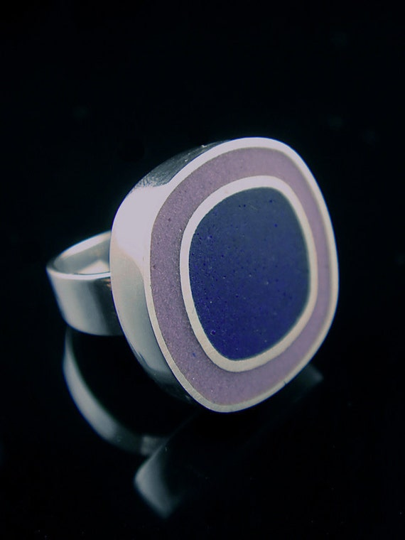 FINAL SALE - Sterling Purple and Navy Resin Ring Size 5.5 - 75% OFF