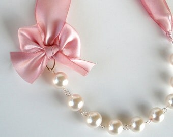 Pink Ribbon Necklace - Pink Bridesmaids Necklaces - Wedding Necklace - Bridal Jewelry