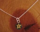 Elder Flower - Real flower pendant with black enamel background on 16 inch sterling chain