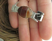 FREE SHIPPING Pick Axe -  silver tie tack with genuine Jasper cabochon. Mining, rock hound, gemstone, geology, science, man, men, natural
