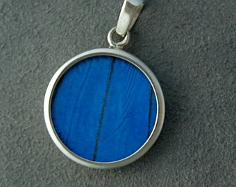 Real Blue Morpho Butterfly Wing Pendant - Small Round Shape