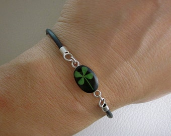 Real Four Leaf Clover Bracelet - black with Sterling silver adjustable clasp - RESERVED