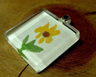 Recycled Wallpaper and Glass Pendant -Tiny yellow flower