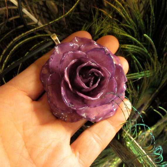 """Real Flower Necklace - LARGE Purple Rose Bloom on18"""" black cord"""