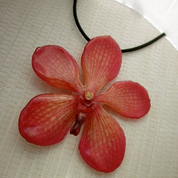 Real Flower Necklace -  Strawberry Mokora Orchid