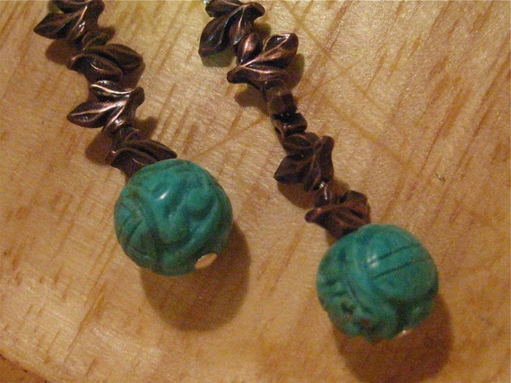 FREE SHIPPING - Turquoise and Twigs - Earrings with copper and sterling
