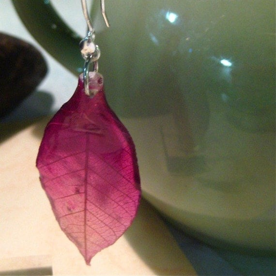 Purple Orchid Leaf Earrings - Real Leaves